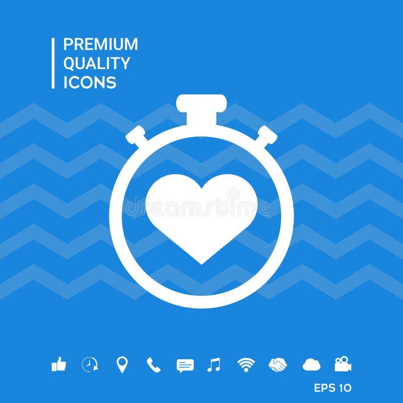 有心脏标志的-象秒表 心脏定时器标志 向量例证