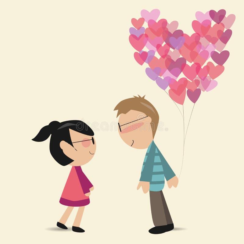 有心脏气球的恋人 库存例证