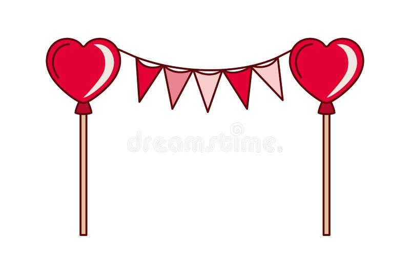 有心脏气球被隔绝的象的党诗歌选 库存例证