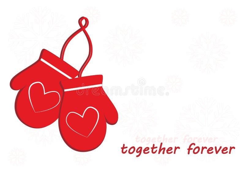 有心脏的两个红色手套在白色雪花背景,永远一起发短信 向量例证