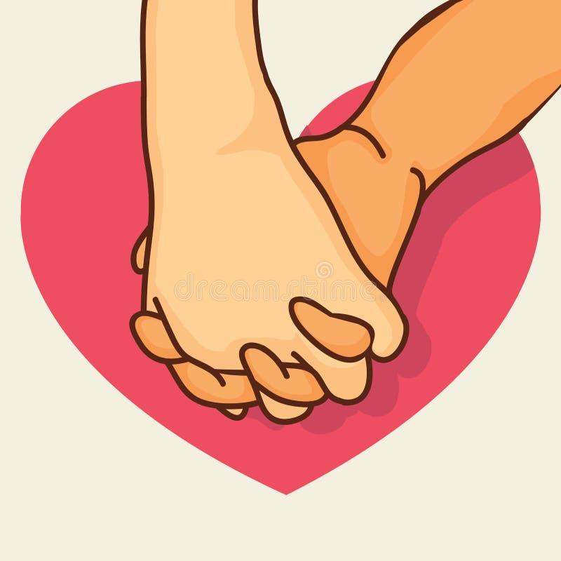 有心脏的带淡红色的诺言手 向量例证