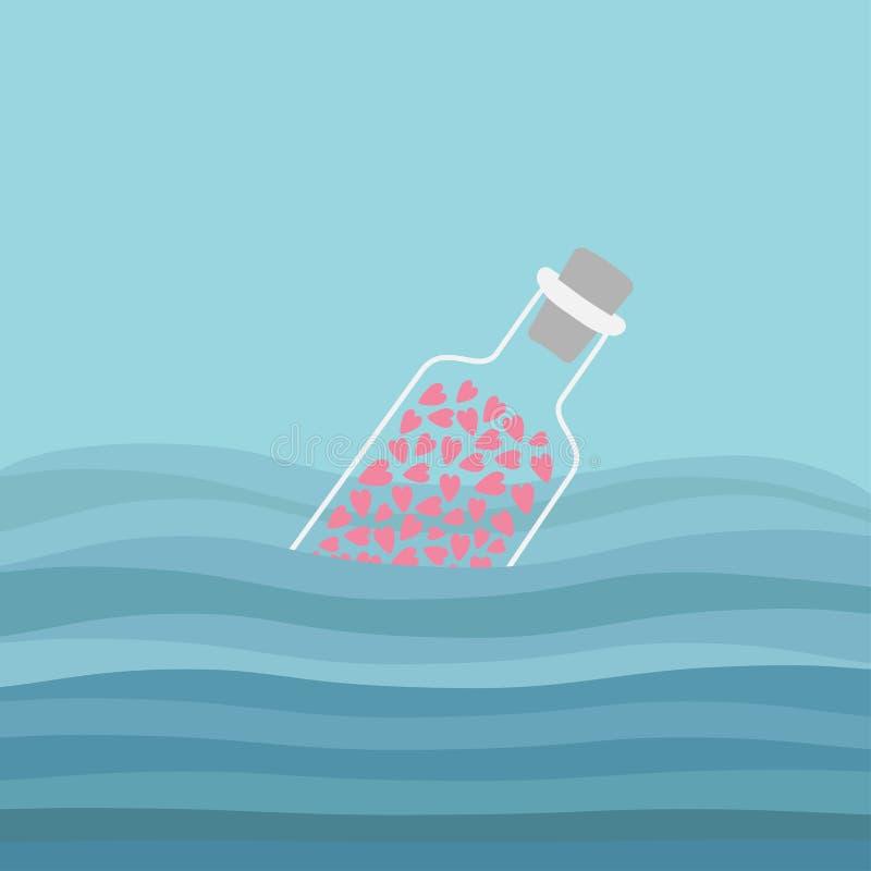 有心脏的瓶里面在海洋海水和波浪 爱背景 向量例证