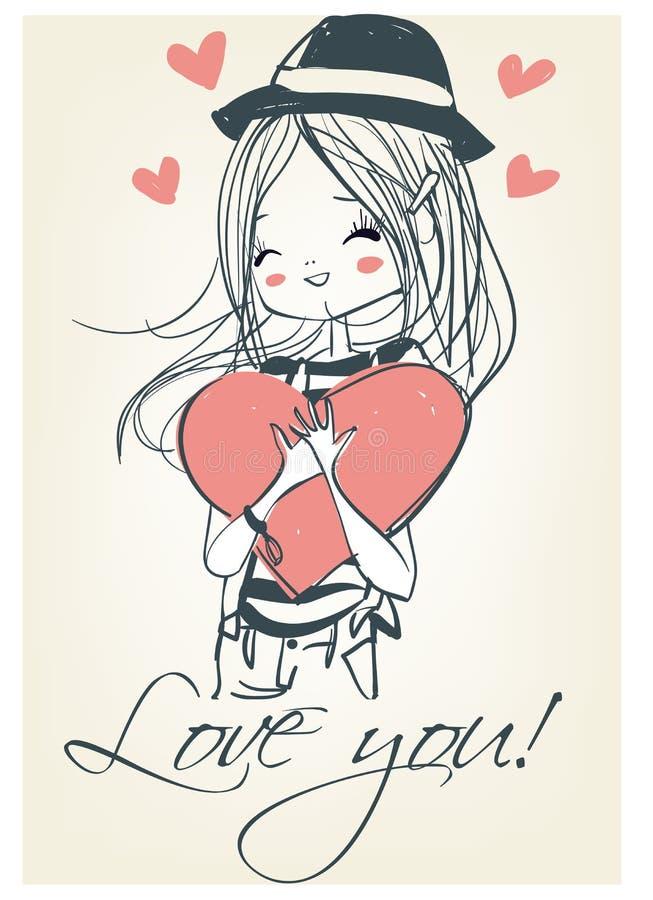 有心脏的美丽的逗人喜爱的女孩 库存例证