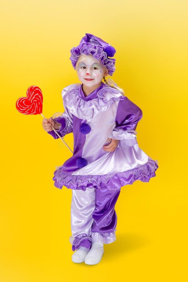 华伦泰跳舞小丑 免版税库存照片