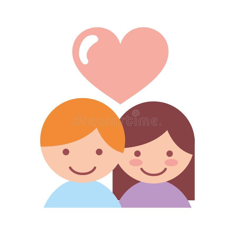 有心脏的逗人喜爱的夫妇恋人 向量例证