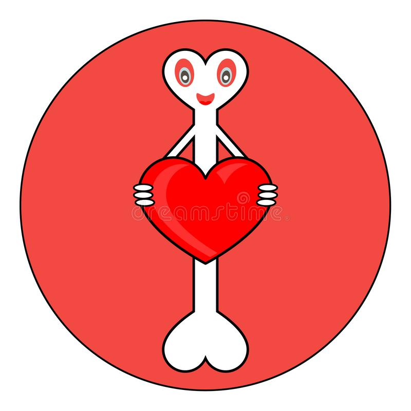 有心脏的骨头在手上 库存例证