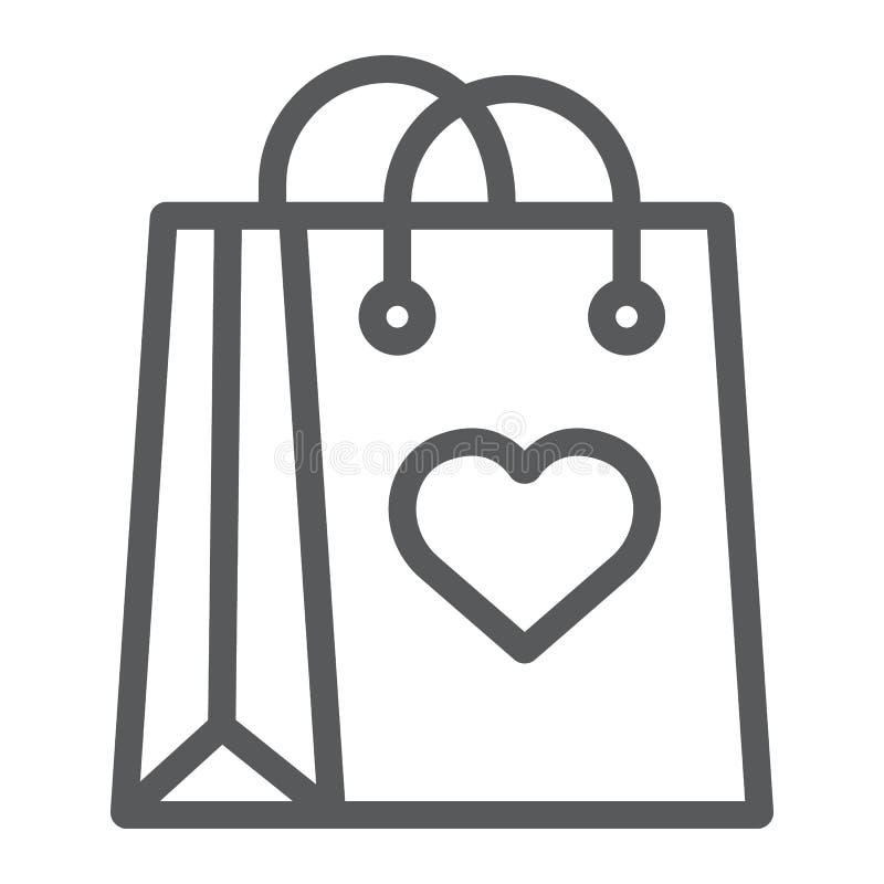 有心脏线象,爱和包裹的,礼物袋子标志,向量图形,在白色的一个线性样式购物带来 库存例证