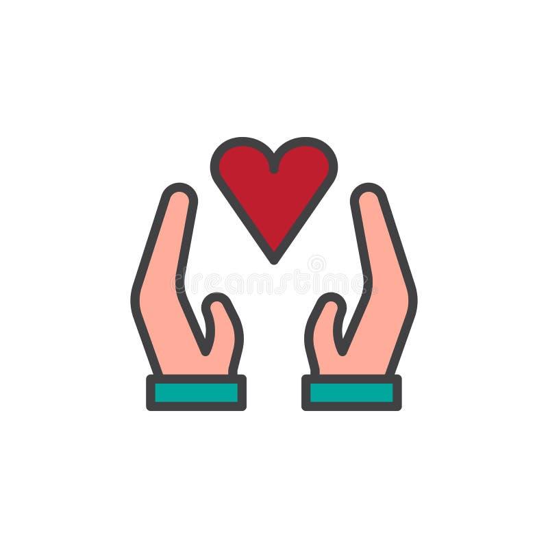 有心脏被填装的概述象的手 库存例证