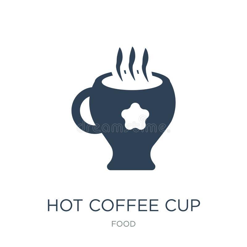 有心脏象的热的咖啡杯在时髦设计样式 有在白色背景隔绝的心脏象的热的咖啡杯 热的咖啡 向量例证