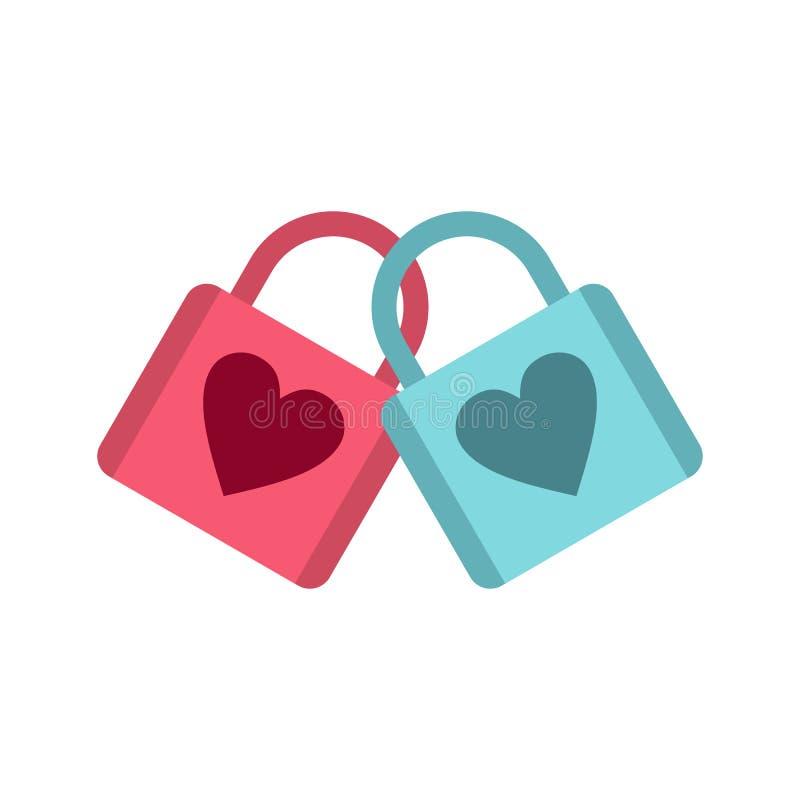 有心脏象的蓝色和桃红色挂锁 向量例证