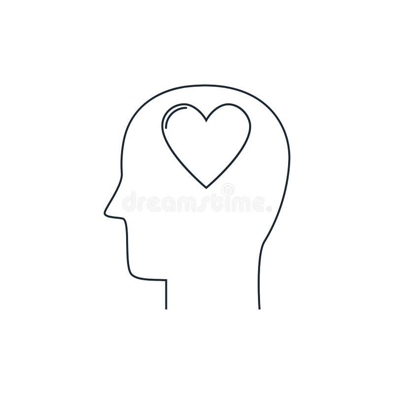 有心脏象的,爱标志,平的设计,稀薄的线人头图片
