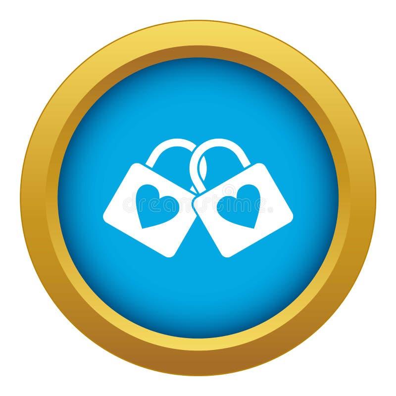 有心脏象蓝色传染媒介的两锁着的挂锁被隔绝的 库存例证