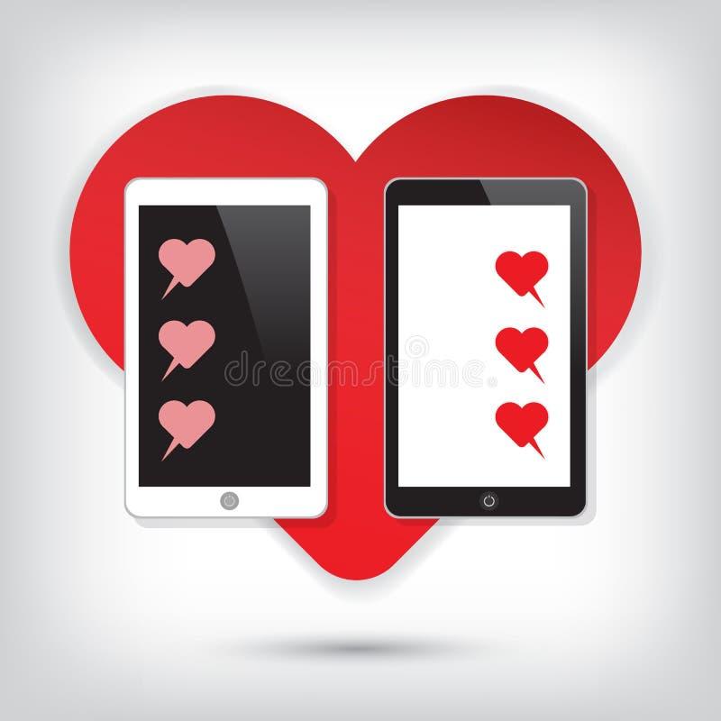 有心脏闲谈的爱手机 向量例证