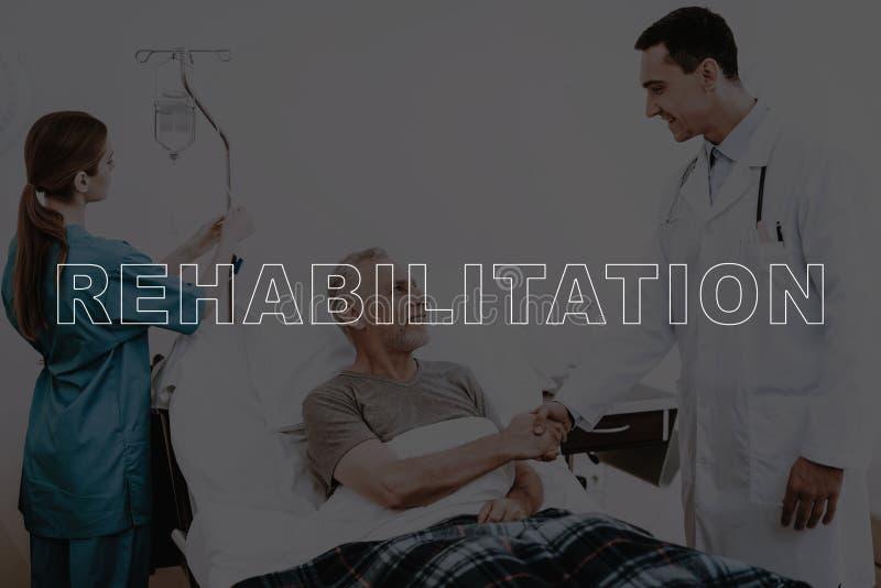 有患者的拼贴画Handshake医生在医院 免版税库存图片