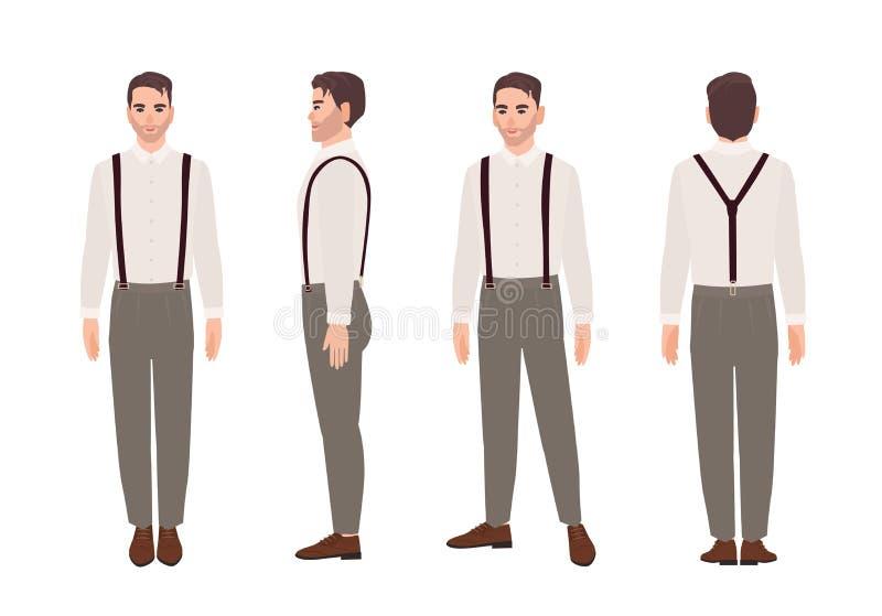 有悬挂装置和衬衣的人佩带的长裤 典雅的成套装备 在白色隔绝的时髦的公卡通人物 库存例证