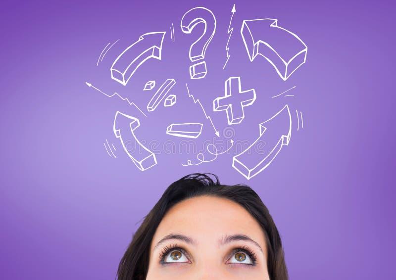 有惊叹号、箭头标志和问号的迷茫的妇女反对紫色背景 向量例证