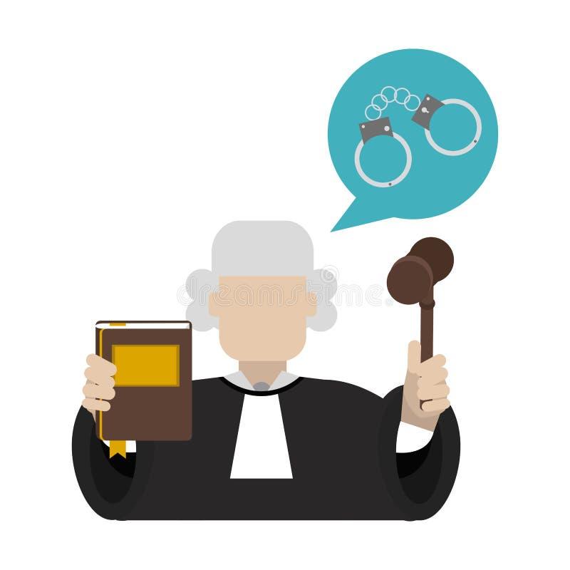 有惊堂木和宪法的法官 向量例证