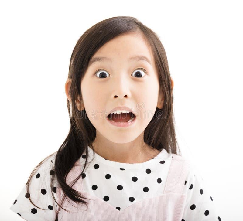 有惊奇的面孔的小女孩 免版税库存照片
