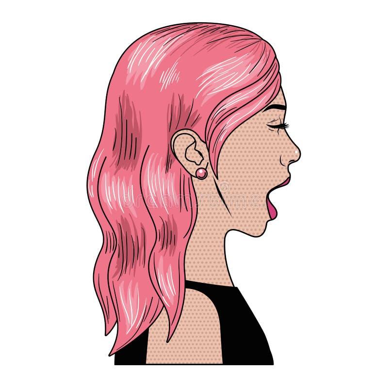 有惊奇面孔具体化字符的妇女 向量例证