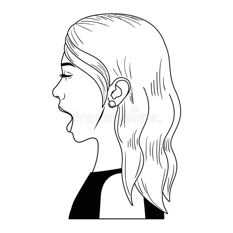 有惊奇面孔具体化字符的妇女 皇族释放例证