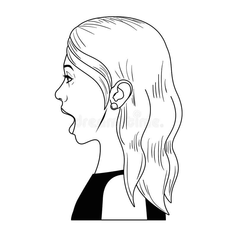 有惊奇面孔具体化字符的妇女 库存例证