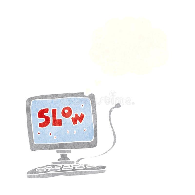 有想法泡影的动画片慢计算机 皇族释放例证