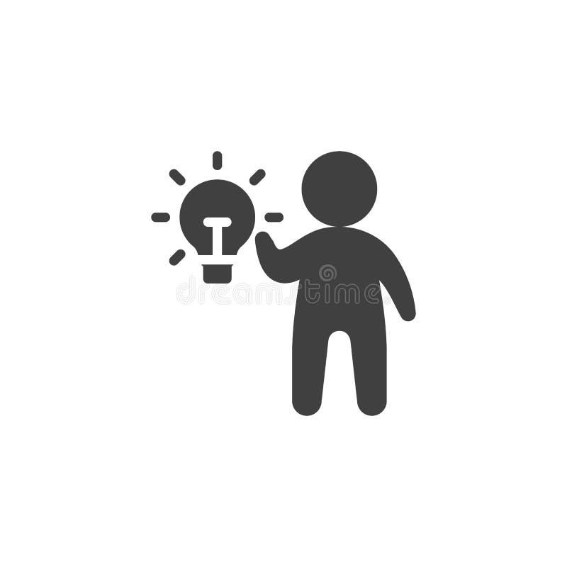 有想法灯传染媒介象的人 库存例证