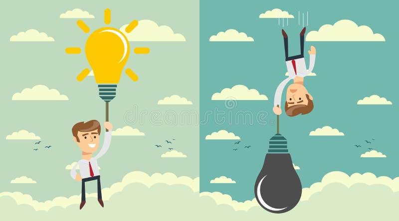 有想法电灯泡的人作为气球 集合 储蓄平的传染媒介例证 皇族释放例证