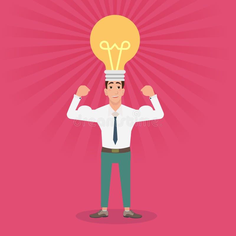 有想法电灯泡的坚强的年轻人在头 向量例证