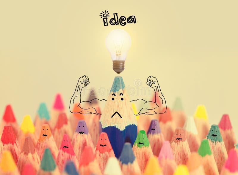 有想法lighbulb概念启发或想法的, brainstor蓝色蜡笔 库存图片