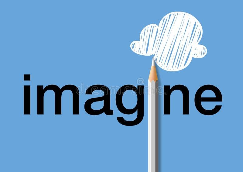 有想象力的头脑的概念与标志的一副色的铅笔图云彩 皇族释放例证