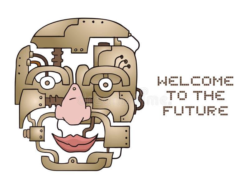 有想象力的机器人头设计  皇族释放例证
