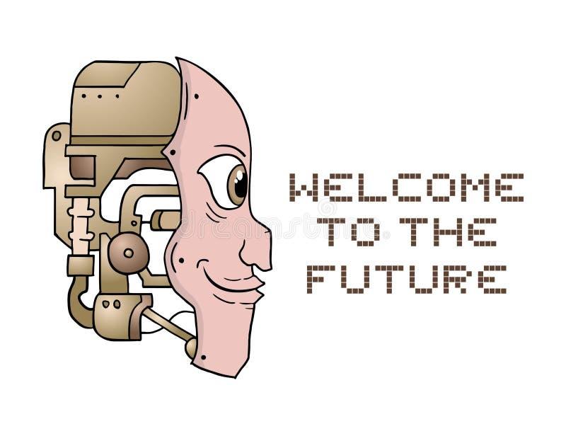 有想象力的机器人面孔设计  向量例证