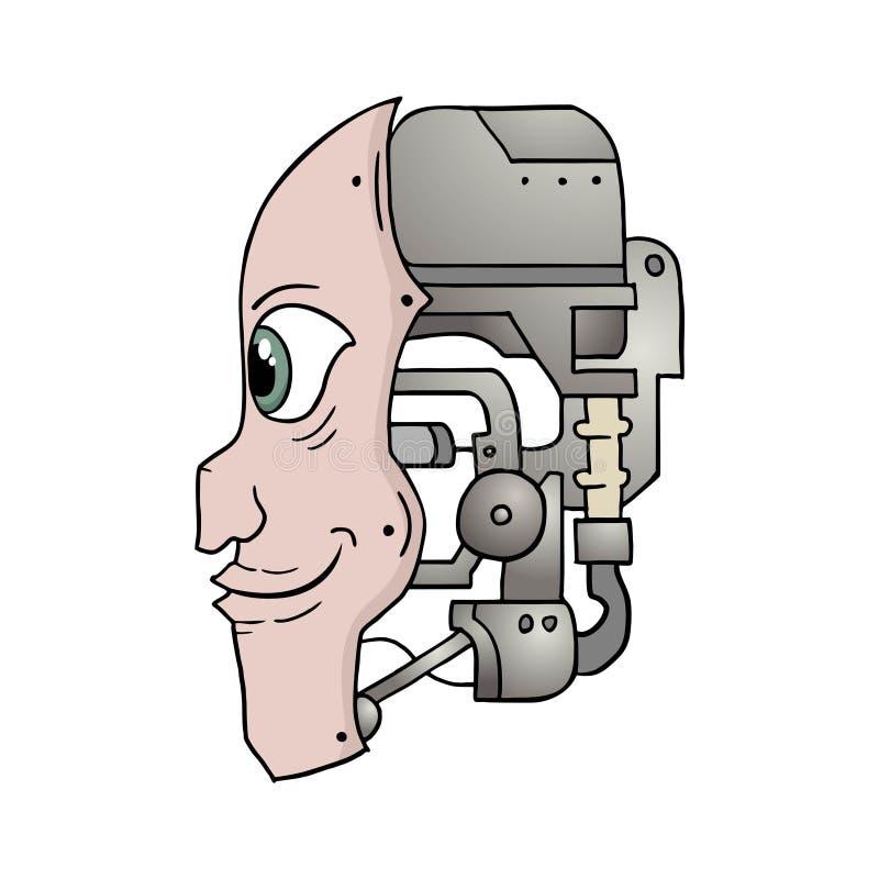 有想象力的机器人面孔设计  库存例证