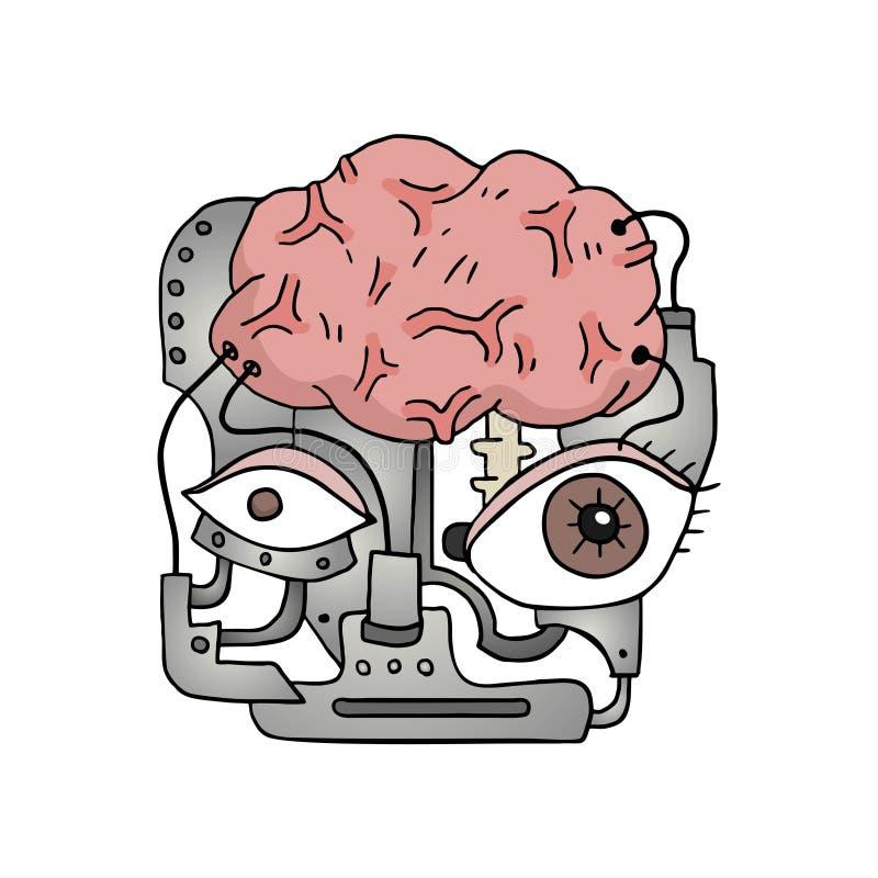有想象力的机器人面孔设计  皇族释放例证