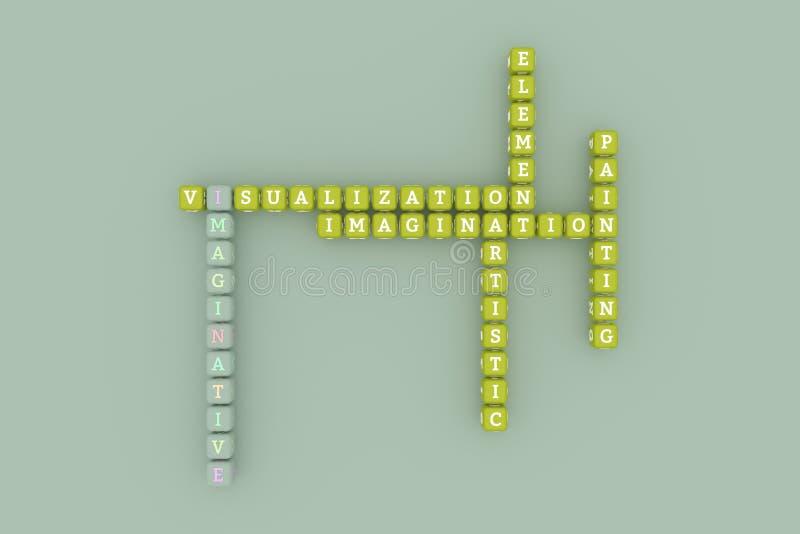 有想象力,创造性的主题词纵横填字谜 r 3d?? 库存例证