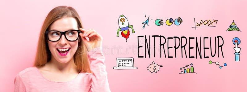 有愉快的少妇的企业家 库存图片