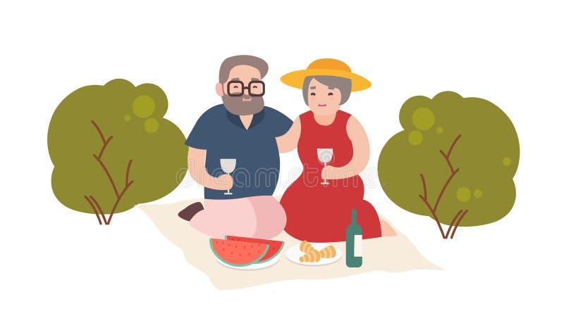有愉快的年长的夫妇在白色背景隔绝的浪漫晚餐室外 对微笑的老男人和妇女 向量例证