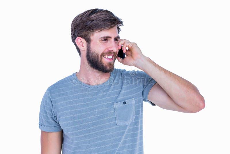 有愉快的英俊的人电话 免版税库存图片