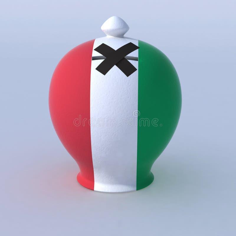 有意大利旗子的钱箱 皇族释放例证