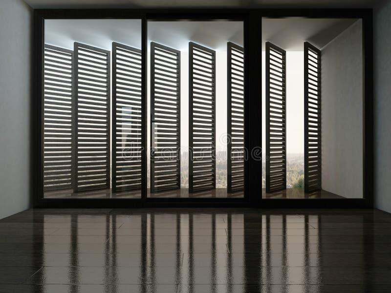 有意想不到的窗口的空的室与窗帘 向量例证