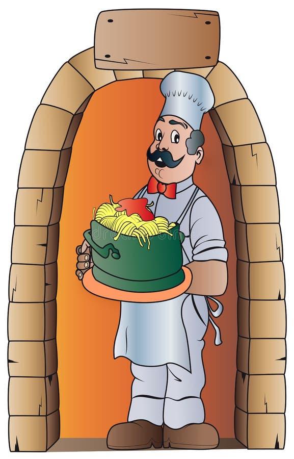 有意粉的厨师罐 免版税库存照片