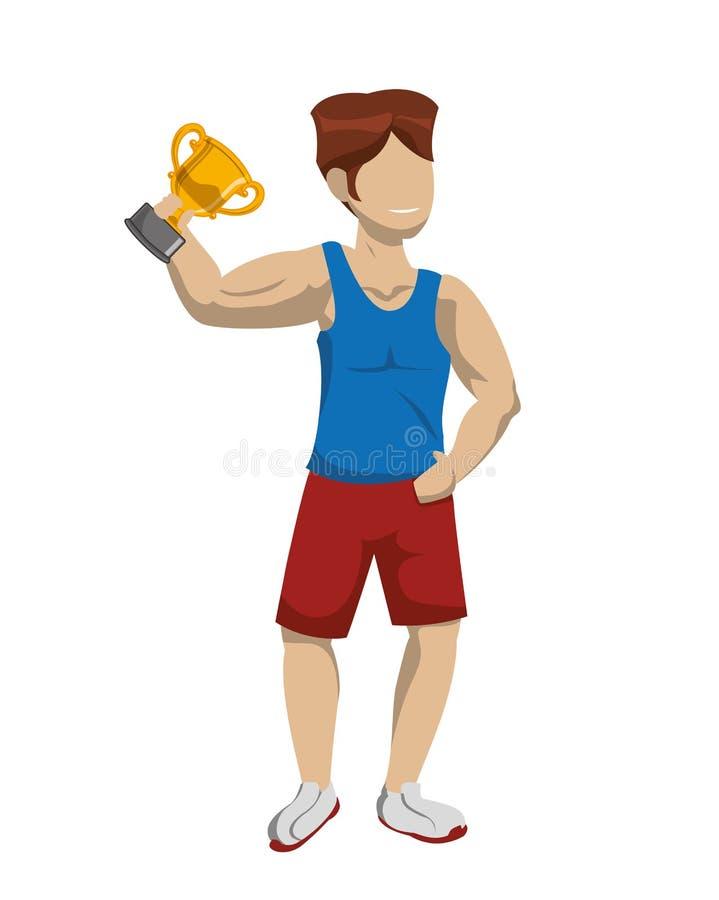 有战利品杯子奖的运动员 向量例证