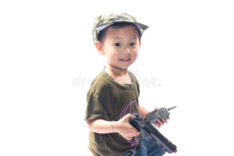 有战士衣服的小女孩 免版税库存照片