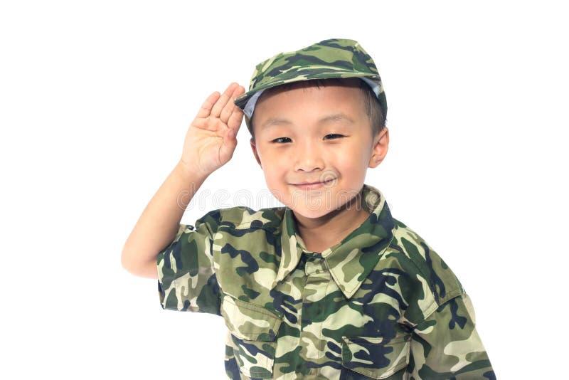 有战士衣服的小男孩 库存图片