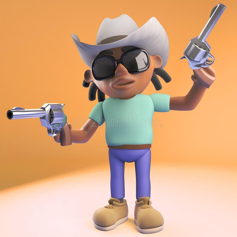 有戴牛仔帽和射击手枪,3d的dreadlocks的凉快的黑人例证 向量例证