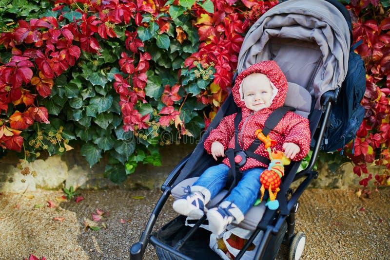 有户外五颜六色的秋叶的女婴 免版税库存照片