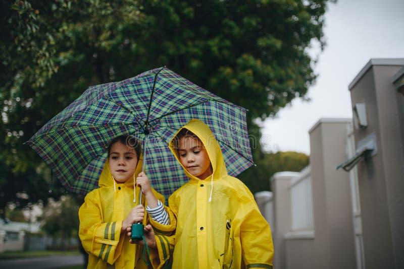 有户外伞的两个小女孩在雨天 免版税图库摄影