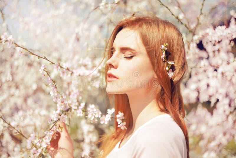 有户外长的头发的春天美景女孩 开花的结构树 浪漫少妇纵向 自然 秀丽女孩画象 图库摄影