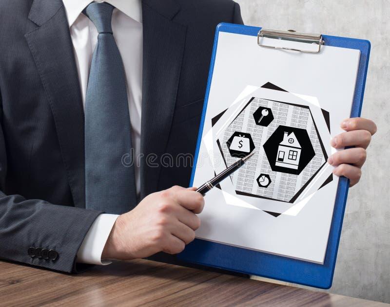 有房地产概念的剪贴板 免版税图库摄影